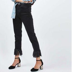 Levi's 550 black cropped fringe mom jeans size 29